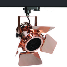 The polished copper TRi-PIN-LED with barn doors - from Photec Lighting