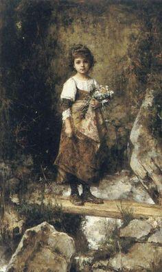 A Peasant Girl on a Footbridge  Artist: Harlamoff Alexei
