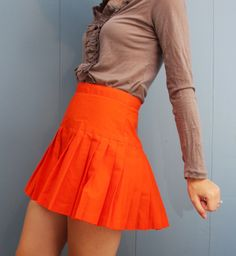 Vintage Cheerleader Orange Pleated Skirt