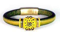 Sunflower. Regaliz Leather Bracelet with a Lampwork by BirkaDesign, $85.00
