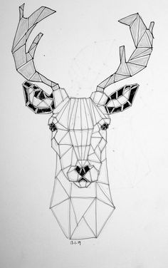 Wireframe Art T Shirt Geometric Stag Skull Graphic Animal Design Graphic