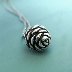 Sterling Silver Pine Cone Necklace  Small Fir by esdesigns on Etsy