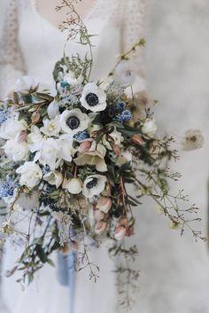 Powder Blue Spring Wedding Inspiration Styled by the Little .- Powder Blue Spring Wedding Inspiration Styled by the Little Lending Co Spring White Anemone Bouquet Twine Flowers, Bridal Flowers, Fresh Flowers, Spring Wedding Bouquets, Flower Bouquet Wedding, Spring Weddings, Spring Flower Bouquet, Flower Bouquets, Bridal Bouquets