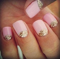 Pink with gold for nails... i think i might try this!!