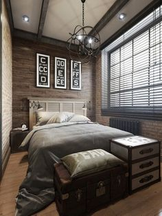 I love the combination of wood paneling and brick. Sleek and urban, yet comfortable and homey at the same time. Bedroom Ideas, Small Room Bedroom, Small Rooms, Modern Bedroom, Bedroom Decor, Southern Homes, Country Interior Design, Decor Interior Design, Interior Decorating