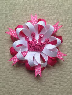 Pink hair bow princess hair bow pink bow by ValartCreativeStudio, $5.75