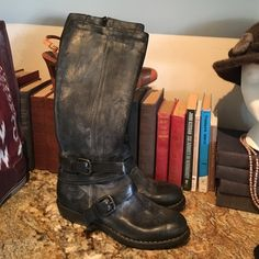 New!  Boots Faded out black leather boots!  Side zipper with unique buckles!  Supper comfy!  New never worn! Almost 17inch tall! Size 38 Mariano Renzi Shoes Combat & Moto Boots