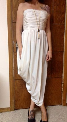 1970's Off White Grecian Goddess /Cocoon Ruched Strapless, Tulip Hem Party Drape Dress-Maxi Dress on Etsy, $34.00