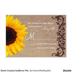 Rustic Country Sunflower Wedding RSVP Reply Cards