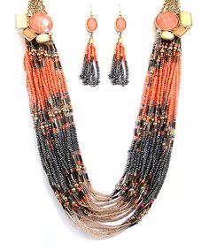 Look at this #zulilyfind! Coral & Black Seed Bead Long Necklace & Drop Earrings by MOA International Corp #zulilyfinds