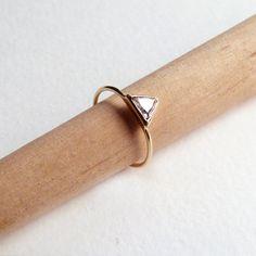 Trillion Diamond Ring - Diamond Engagement Ring - 18k Solid Gold