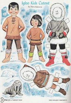 Here is a Golden Magazine Paper Doll page: IGLOO KIDS, by NEVA SCHULTZ, from 1966 (not a reproduction), uncut, in very good condition (see scan). The page is 10 x inches. Please email me with any