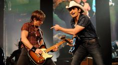 Nashville-based Keith Urban and Brad Paisley rock out at the We're All For The Hall benefit concert for the Country Music Hall of Fame in Nashville