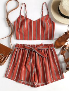 8419136209a4 Striped Cami Belted Shorts Set - CHESTNUT RED M #ZAFUL #Camishorts #striped  Backless