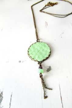 Green coin pendant necklacevintage Style necklace by ruthreizin, $28.00