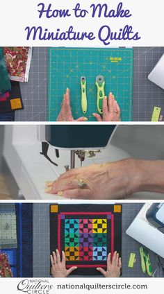 Miniature quilts can be fun projects to make if you are wanting to make a quilt but don't have the need or space for a large one. Mini quilts also use much less fabric and can allow you to use up some of the smaller scraps of fabric you may have been saving. Learn how to make a miniature quilt and get some inspiration from ones she has made in the past with Toby Lischko. Longarm Quilting, Quilting Tips, Quilting Tutorials, Quilting Projects, Sewing Projects, Art Quilting, Modern Quilting, Quilting Fabric, Sewing Hacks