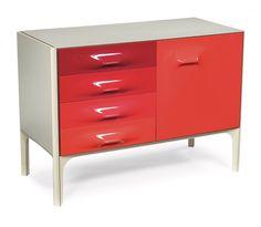 Raymond Loewy DF-2000 cabinet Teak Furniture, Furniture Vintage, Mid Century Furniture, Furniture Design, Raymond Loewy, Planet Design, Samurai Art, House Colors, Scarlet