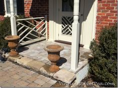 The Chippendale railings on our front porch were falling apart due to rot. Rather than hire this project out, we made our own Chippendale railings. Porch Columns, Porch Railings, Porch Railing Designs, Small Porches, Dining Room Table, Front Porch, Planting Flowers, Fountain, House Plans