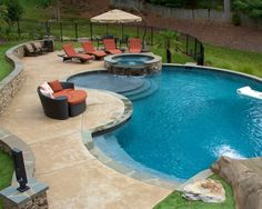 Having a pool sounds awesome especially if you are working with the best backyard pool landscaping ideas there is. How you design a proper backyard with a pool matters. Pool Spa, Small Swimming Pools, Small Backyard Pools, Backyard Pool Landscaping, Backyard Pool Designs, Swimming Pools Backyard, Landscaping Ideas, Lap Pools, Indoor Pools