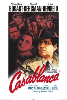 Directed by Michael Curtiz. With Humphrey Bogart, Ingrid Bergman, Paul Henreid, Claude Rains. Set in unoccupied Africa during the early days of World War II: An American expatriate meets a former lover, with unforeseen complications.