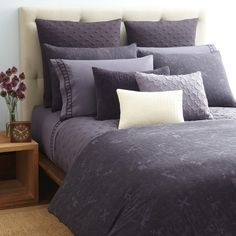 Cool purples are thought to reduce stress, so they are perfect for bedroom textiles.
