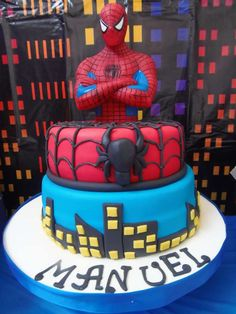 Spiderman birthday party cake! See more party ideas at CatchMyParty.com!