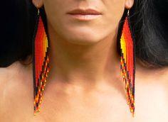Shoulder Duster Earrings. Native American Earrings Inspired. Extra Long Earrings. Beadwork. by LiLaJewelry4You on Etsy https://www.etsy.com/listing/237622036/shoulder-duster-earrings-native-american