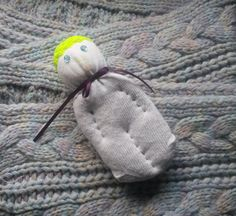 Lavender Filled Sock Doll White Neon Yellow Crocheted by Pedricks