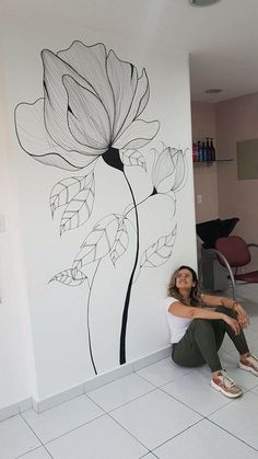Wall Painting Flowers, Easy Flower Painting, Wall Painting Decor, Mural Wall Art, Watercolor Flowers, Watercolor Paintings, Flur Design, Wall Design, House Design