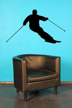 Slalom Skier, Ski - Decal, Sticker, Vinyl, Wall, Home, Winter, Holiday, Bedroom Decor