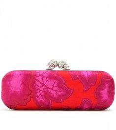 Alexander Mcqueen Floral Jacquard Baguette Clutch in Pink (pink red) ~~~ ✿RePin from Golden Shadow✿