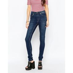 Cheap Monday Second Skin Carbon Torn Jeans ($66) ❤ liked on Polyvore featuring jeans, grey, skinny jeans, high-waisted skinny jeans, high waisted jeans, destructed skinny jeans and high-waisted jeans