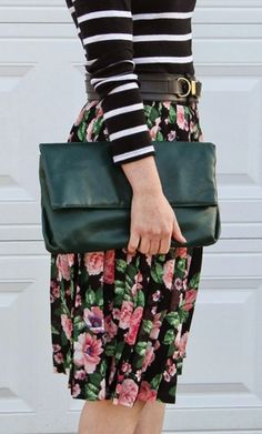 perfectly mixed floral + stripes.