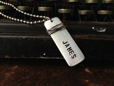 Skinny Custom Hand Stamped Aluminum Dog Tag by RUSTICBRAND . Happy Fathers DAY HUBBY!!! :-)
