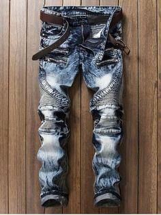 Bleached Zipper Biker Jeans