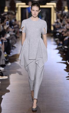 Winter 2015  Look 13 - Stella McCartney - Felt Grey Boiled Extensions Short Sleeved Jumper and Trousers with Pure White Brass & Enamel Pearl Earrings and Pumice Alter Nappa Pumps.