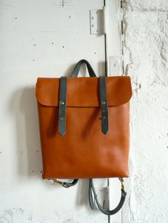 rucksack tote in honey and slate by fluxproductions on Etsy