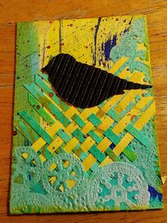 Blackbird Nesting ATC using Twinkling H2O Watercolors, paper weaving, corrugated paper, doily