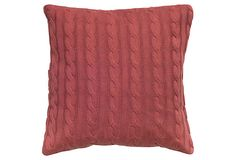 Cable-Knit 20x20 Pillow, Red on OneKingsLane.com