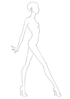Side view fashion figure templates for Fashion design and Illustration. Illustration Tutorial, Fashion Illustration Sketches, Illustration Mode, Fashion Sketchbook, Illustrations, Fashion Figure Templates, Fashion Design Template, Fashion Model Sketch, Fashion Sketches