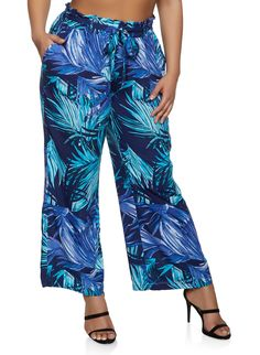488d2ea0569 Plus Size Floral Palazzo Pants with Tie Waist Belt - Blue - Size 3X