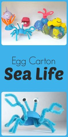 Egg Carton Sea Life Crafts for Kids: Create bright and colorful sea creature using recycled egg cartons and a few other simple craft supplies. Create your own coral reef with these easy egg carton sea life crafts. Craft Activities, Preschool Crafts, Kids Crafts, Arts And Crafts, Preschool Kindergarten, Recycled Crafts For Kids, Ocean Activities, Easy Crafts, Easy Diy