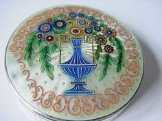 Beautiful Sterling Silver .935 Sky Blue Guilloche Enamel COMPACT Floral Design.