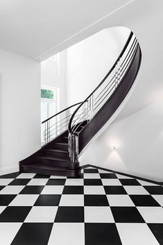 Painted Staircases, Curved Staircase, Stair Railing, Railings, Art Deco, Art Nouveau, Stair Art, Modern Stairs, Deco Table