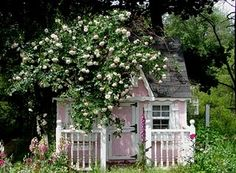 Sweet little cottage, eh? Cute Small Houses, Little Houses, Small Cottages, Cabins And Cottages, Tree House Interior, Living At Home, Cottage Living, Backyard Buildings, Pink Garden