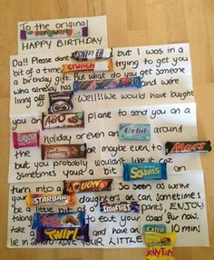 Pic: Irish dad receives one of the best birthday cards you will ever see Candy Bar Cards, Candy Birthday Cards, Birthday Card Messages, Mum Birthday Gift, Cool Birthday Cards, 16th Birthday Gifts For Best Friend, Birthday Crafts, 90th Birthday, Birthday Ideas
