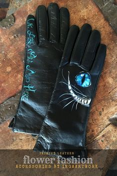 Custom Cheshire Cat smooth black leather long women gloves with painted Alice in Wonderland art, Wrist Warmers, Hand Warmers, Bohemian Accessories, Fashion Accessories, Weather Snow, Wet Weather, Winter Wonderland Outfit, Gloves Fashion, Cozy Winter Outfits