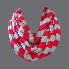 Red & Gray Ohio State OSU Stripe Infinity Scarf  by jenwrendesign, $16.00
