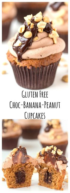 Gluten Free peanut banana cupcake with chocolate brownie baked inside. Gluten Intolerant or not, these will be loved by everyone. #cupcake #glutenfreecupcakes #glutenfreecake #bananacupcake