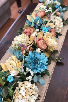 Wooden Box Centerpiece, Centerpiece Ideas, Floral Centerpieces, Floral Arrangements, Floral Swags, Floral Garland, Summer Mantel, Glitter Candles, Purple Wedding Flowers